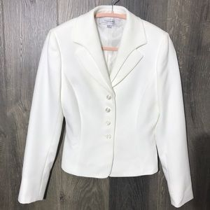 Tahari White Button Blazer